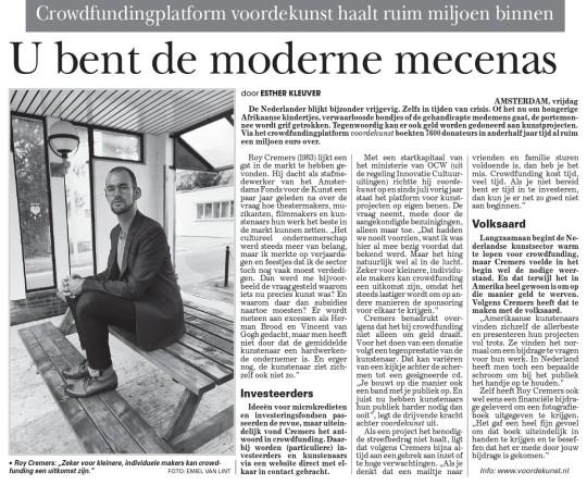 Vandaag in de Telegraaf!