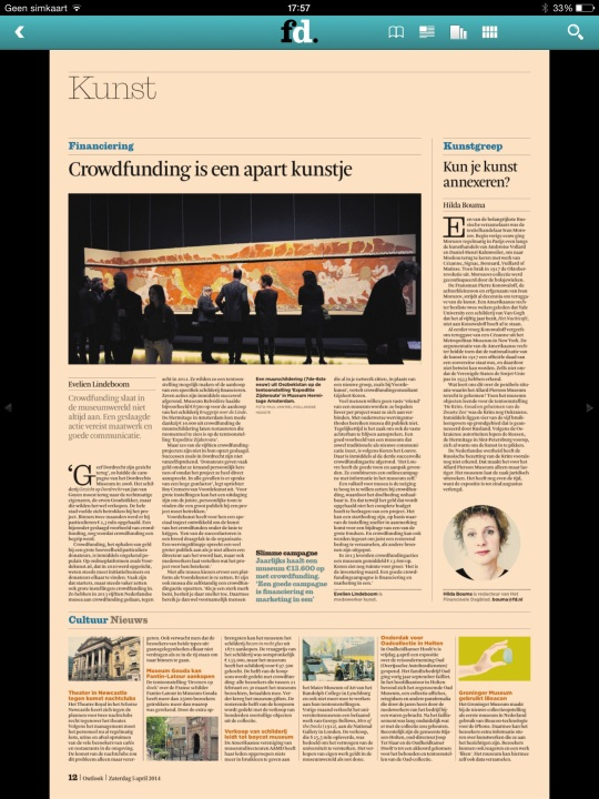 Crowdfunding is apart kunstje, fd.nl